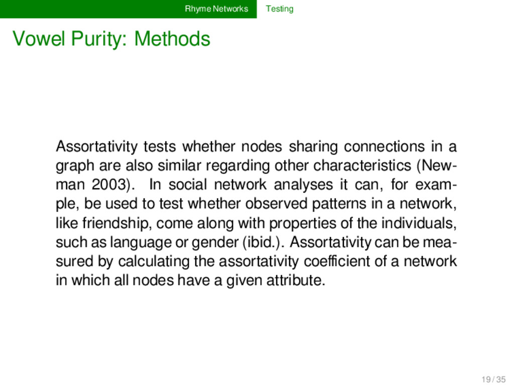 Rhyme Networks Testing Vowel Purity: Methods As...