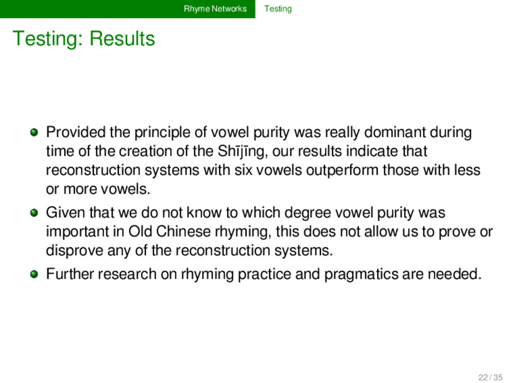 Rhyme Networks Testing Testing: Results Provide...