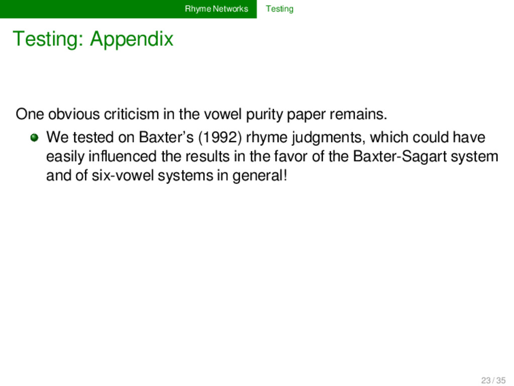 Rhyme Networks Testing Testing: Appendix One ob...