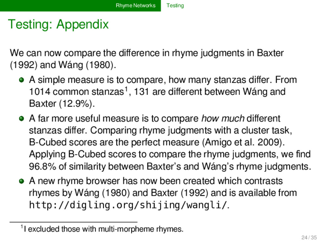 Rhyme Networks Testing Testing: Appendix We can...