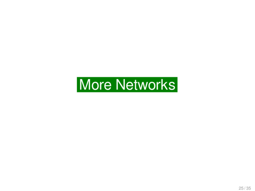 More on Networks More Networks 25 / 35