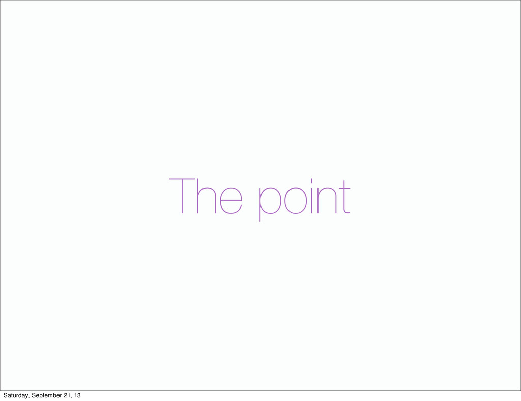 The point Saturday, September 21, 13