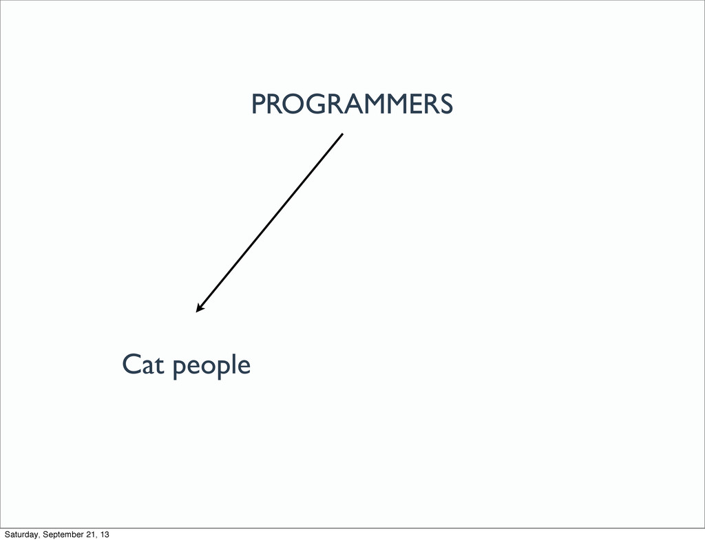 PROGRAMMERS Cat people Saturday, September 21, ...