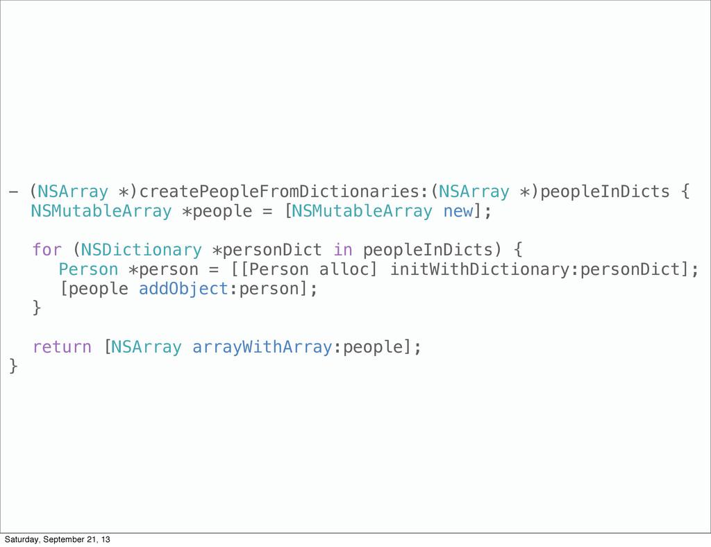 - (NSArray *)createPeopleFromDictionaries:(NSAr...