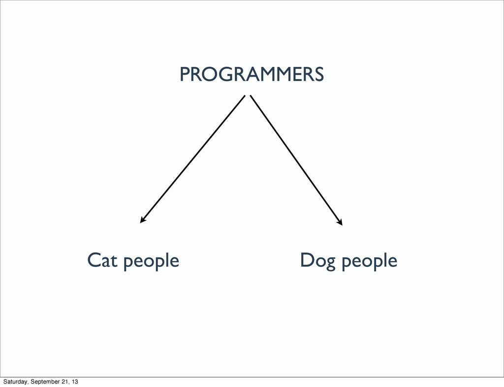 PROGRAMMERS Cat people Dog people Saturday, Sep...