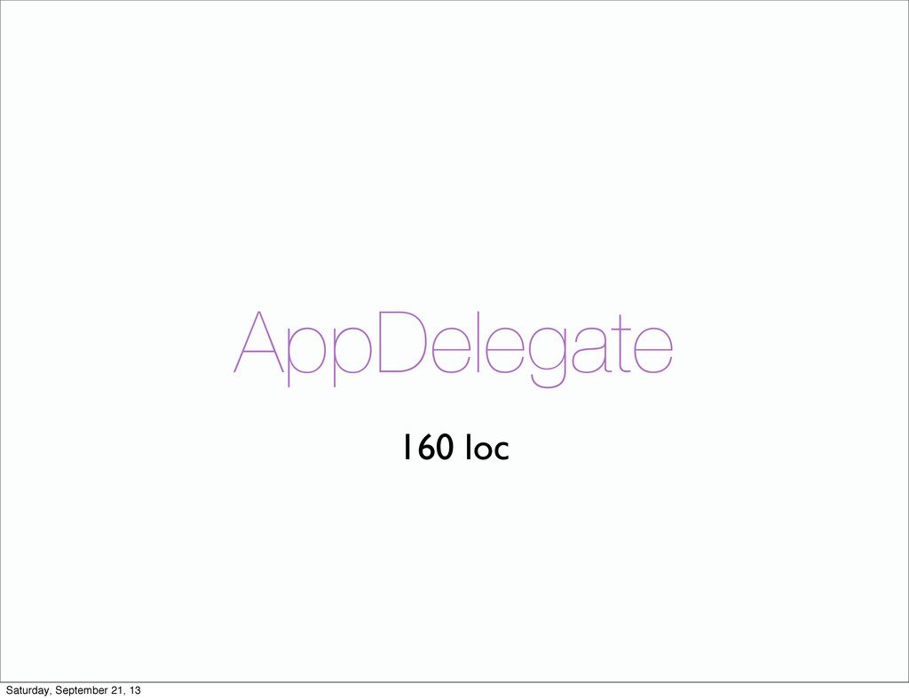 AppDelegate 160 loc Saturday, September 21, 13
