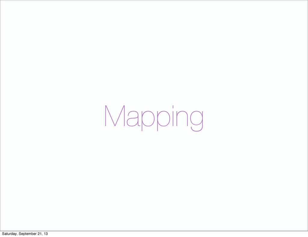 Mapping Saturday, September 21, 13