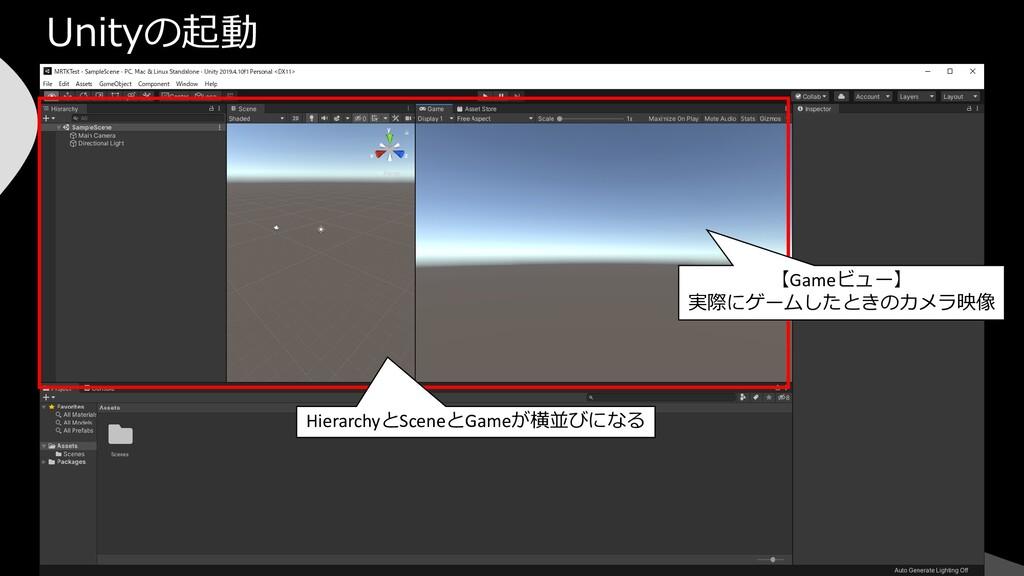 Unityの起動 HierarchyとSceneとGameが横並びになる 【Gameビュー】 ...