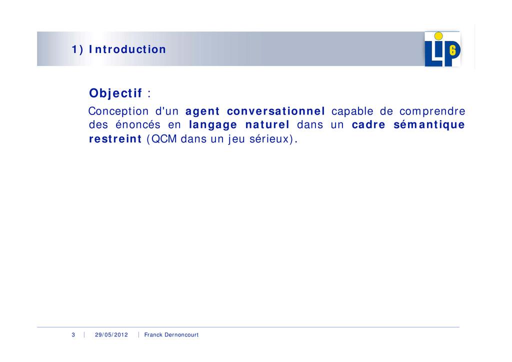 29/05/2012 Franck Dernoncourt 3 1) Introduction...