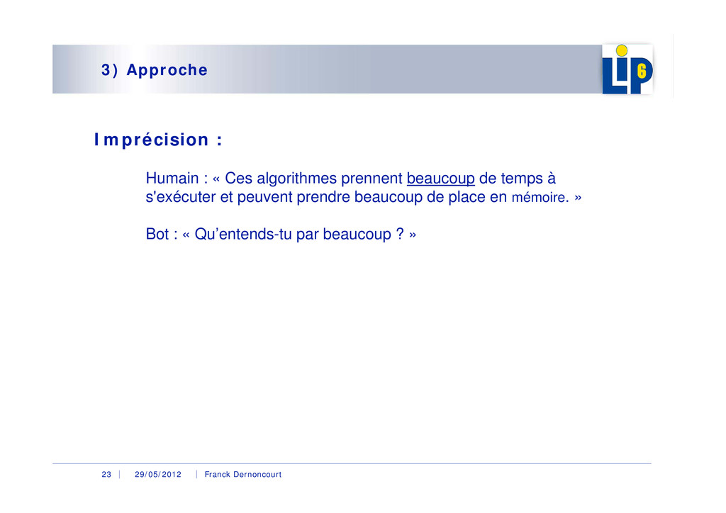 29/05/2012 Franck Dernoncourt 23 3) Approche Im...