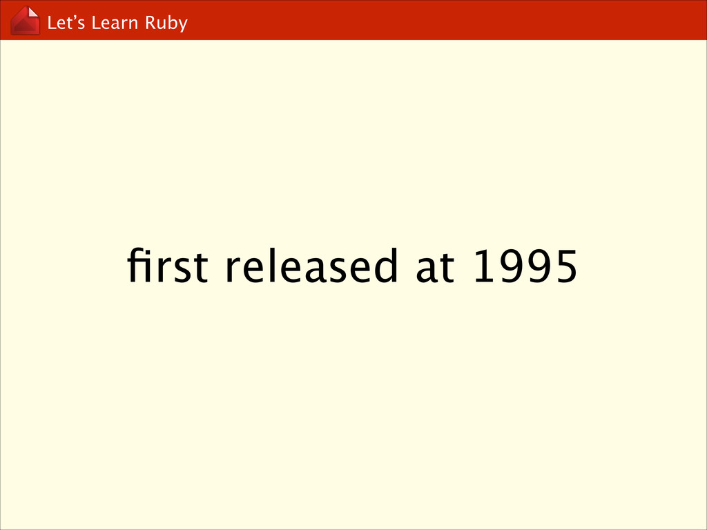 Let's Learn Ruby first released at 1995