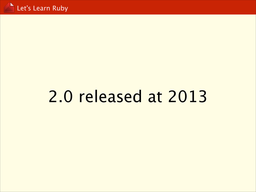 Let's Learn Ruby 2.0 released at 2013