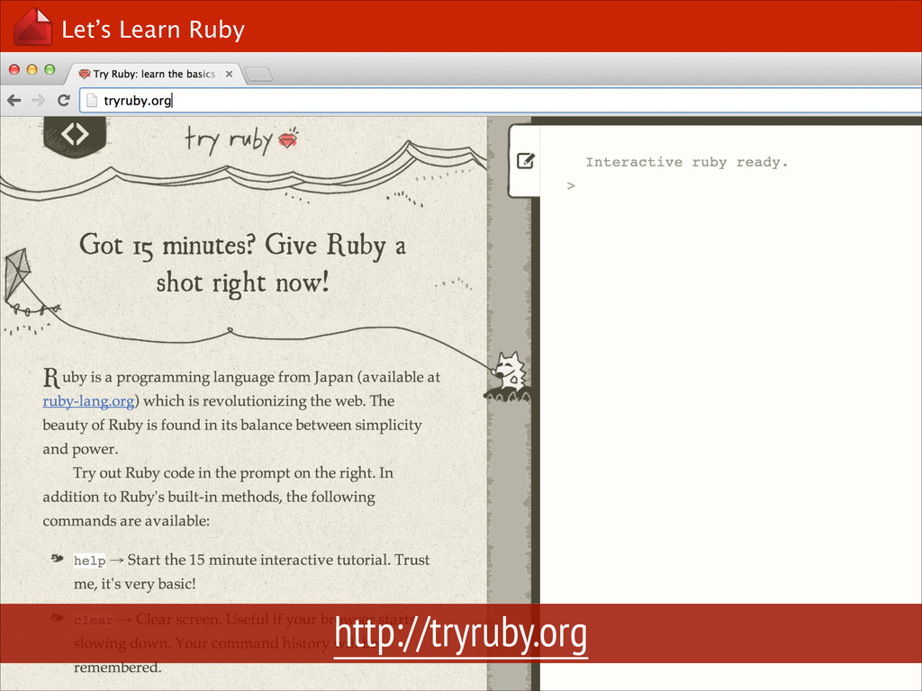 Let's Learn Ruby http://tryruby.org