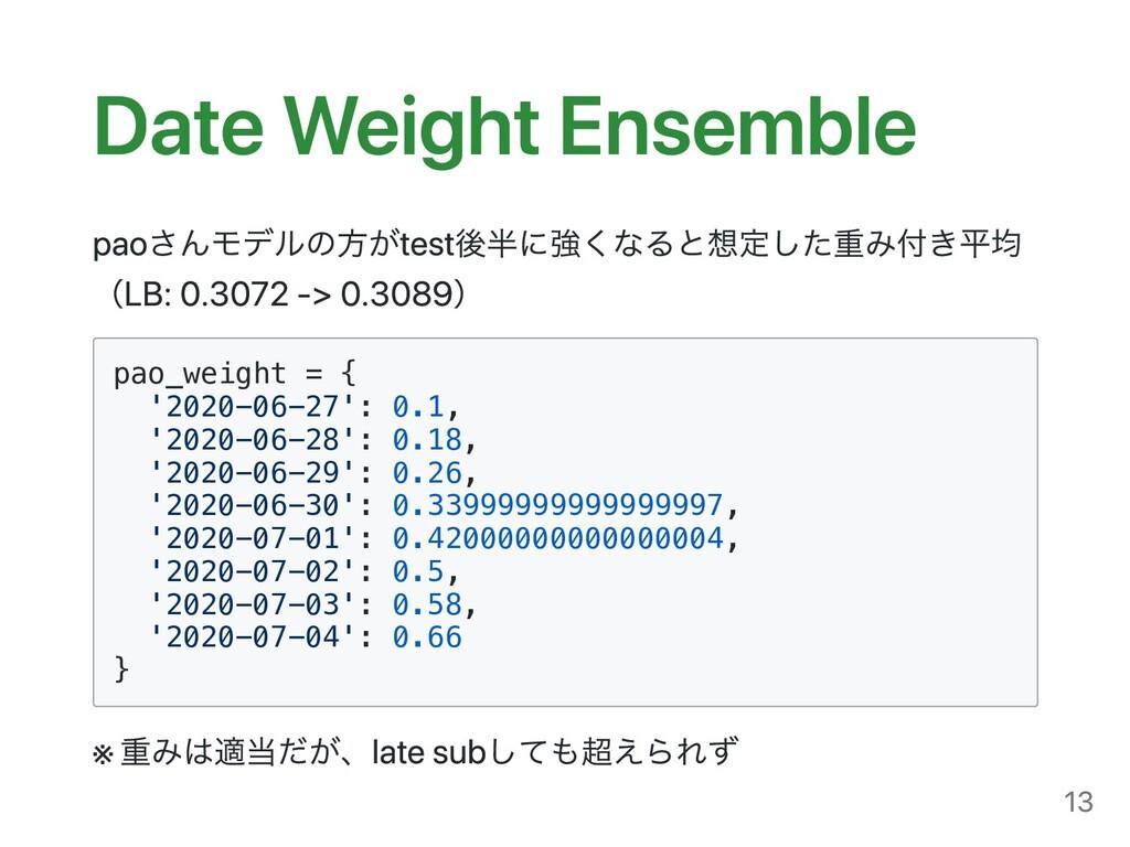Date Weight Ensemble paoさんモデルの⽅がtest後半に強くなると想定し...