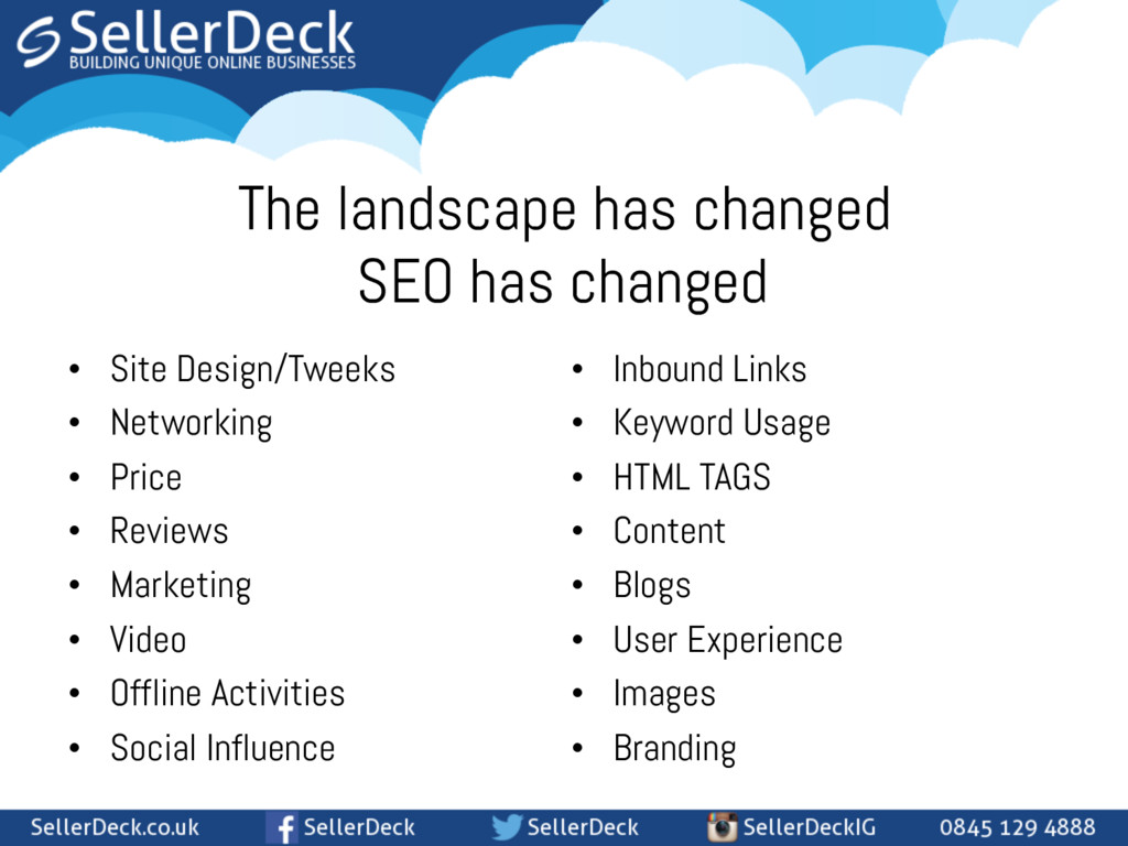 The landscape has changed • Site Design/Tweeks...