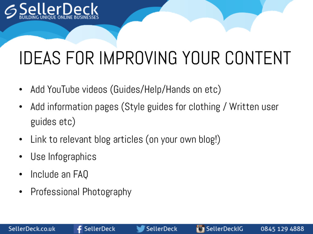 • Add YouTube videos (Guides/Help/Hands on etc...