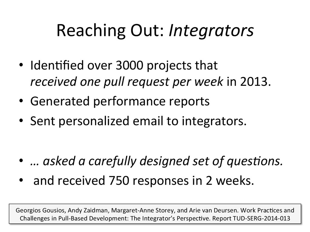 Reaching Out: Integrators  • IdenCfied...