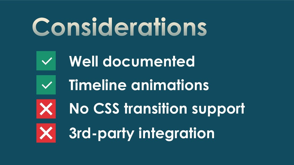 Considerations Well documented Timeline animati...