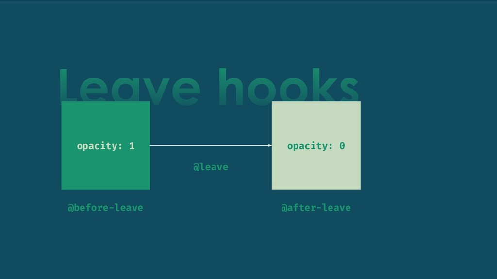 Leave hooks opacity: 1 opacity: 0 @before-leave...