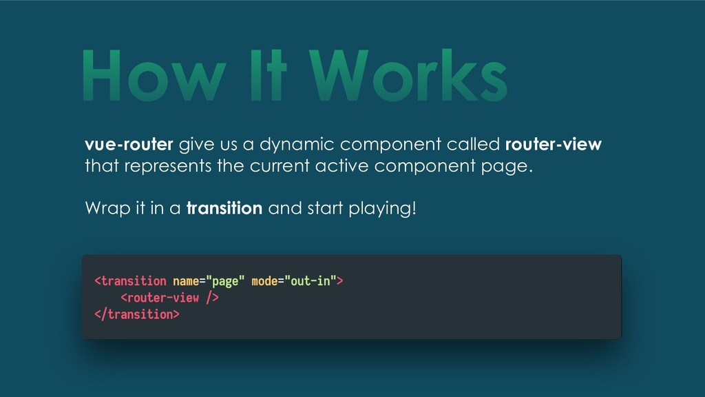 How It Works vue-router give us a dynamic compo...