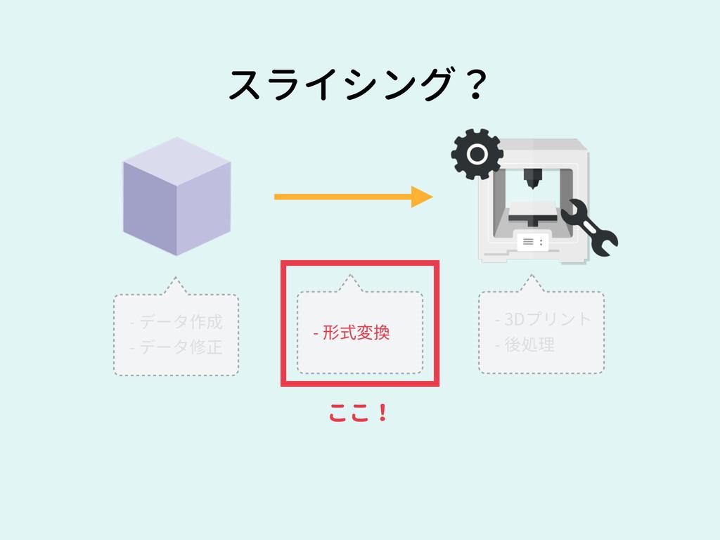 スライシング? - データ作成 - データ修正 - 形式変換 - 3Dプリント - 後処理 こ...