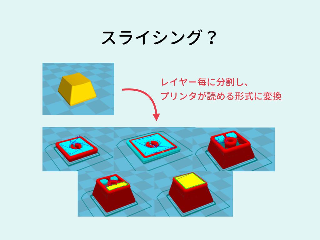 スライシング? レイヤー毎に分割し、 プリンタが読める形式に変換