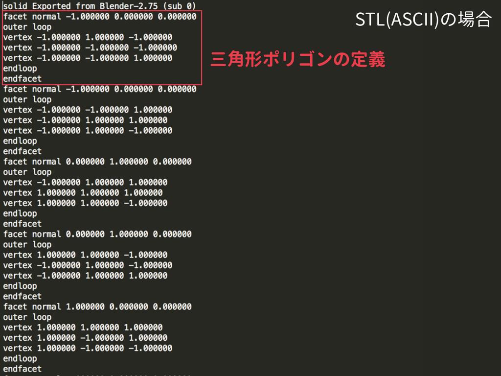三角形ポリゴンの定義 STL(ASCII)の場合