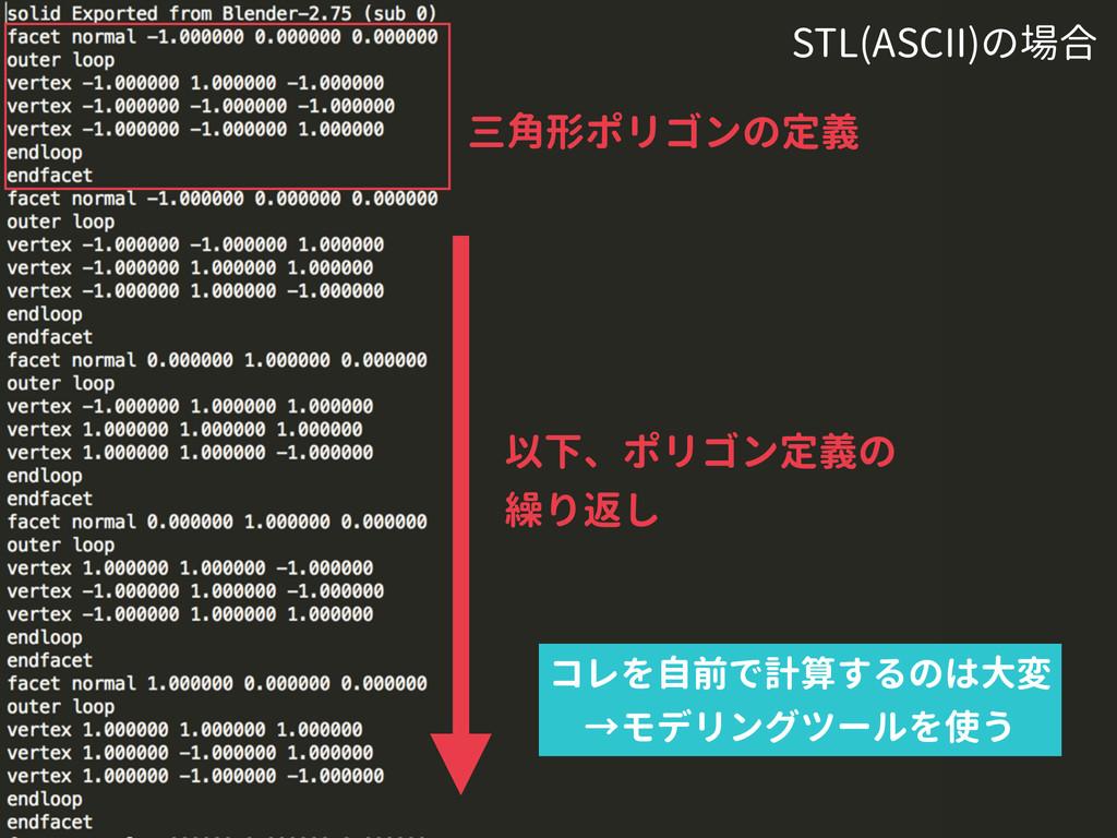 以下、ポリゴン定義の 繰り返し STL(ASCII)の場合 コレを自前で計算するのは大変 →モ...