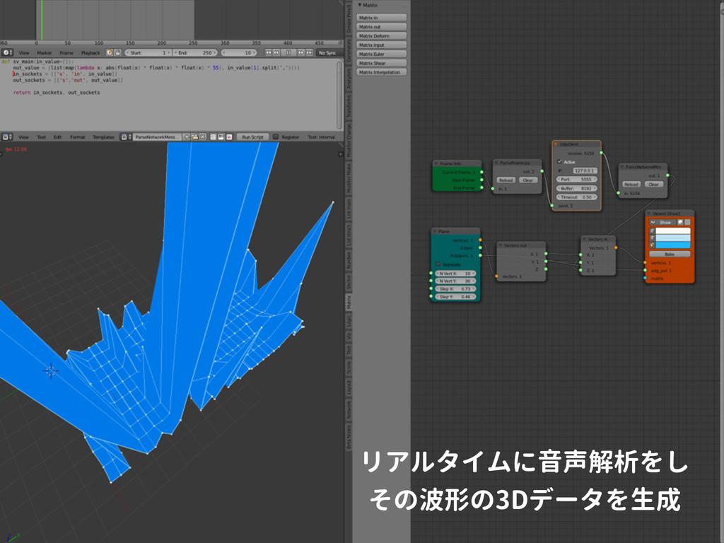 リアルタイムに音声解析をし その波形の3Dデータを生成