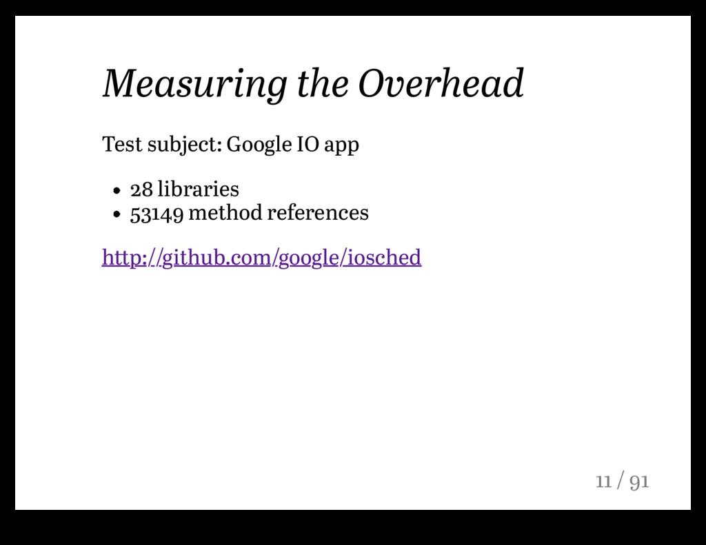 Measuring the Overhead Test subject: Google IO ...