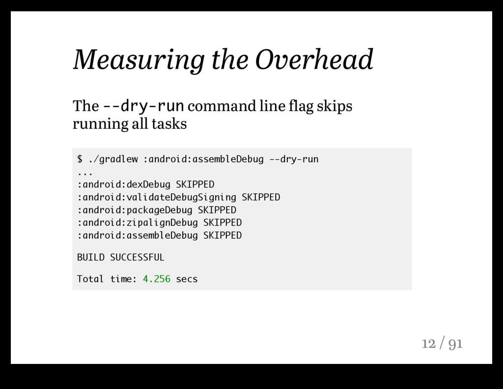 Measuring the Overhead The --dry-run command li...