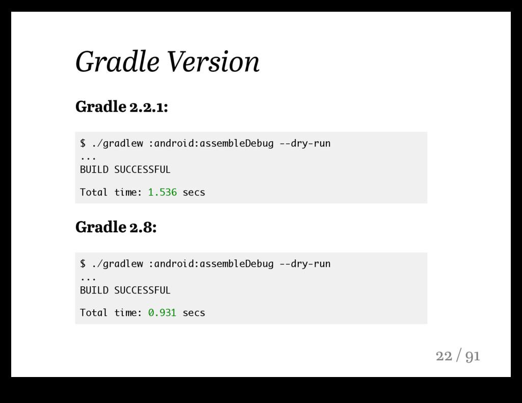Gradle Version Gradle 2.2.1: $ ./gradlew :andro...