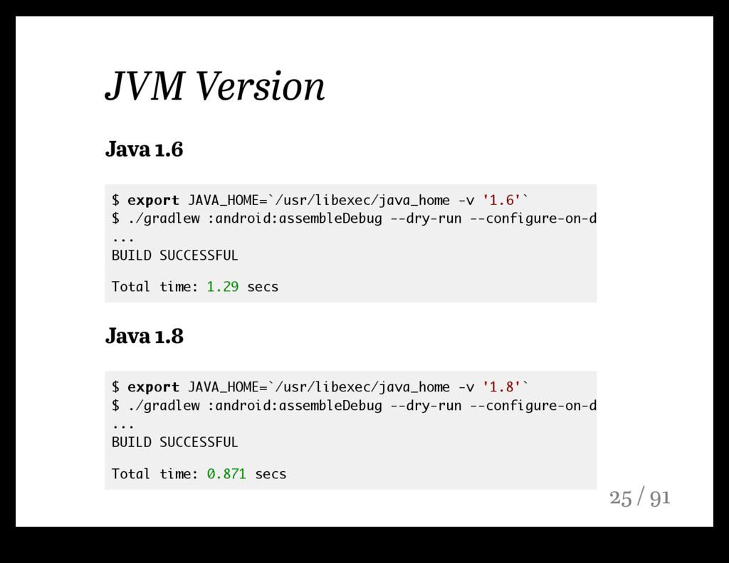 JVM Version Java 1.6 Java 1.8 $ export export J...