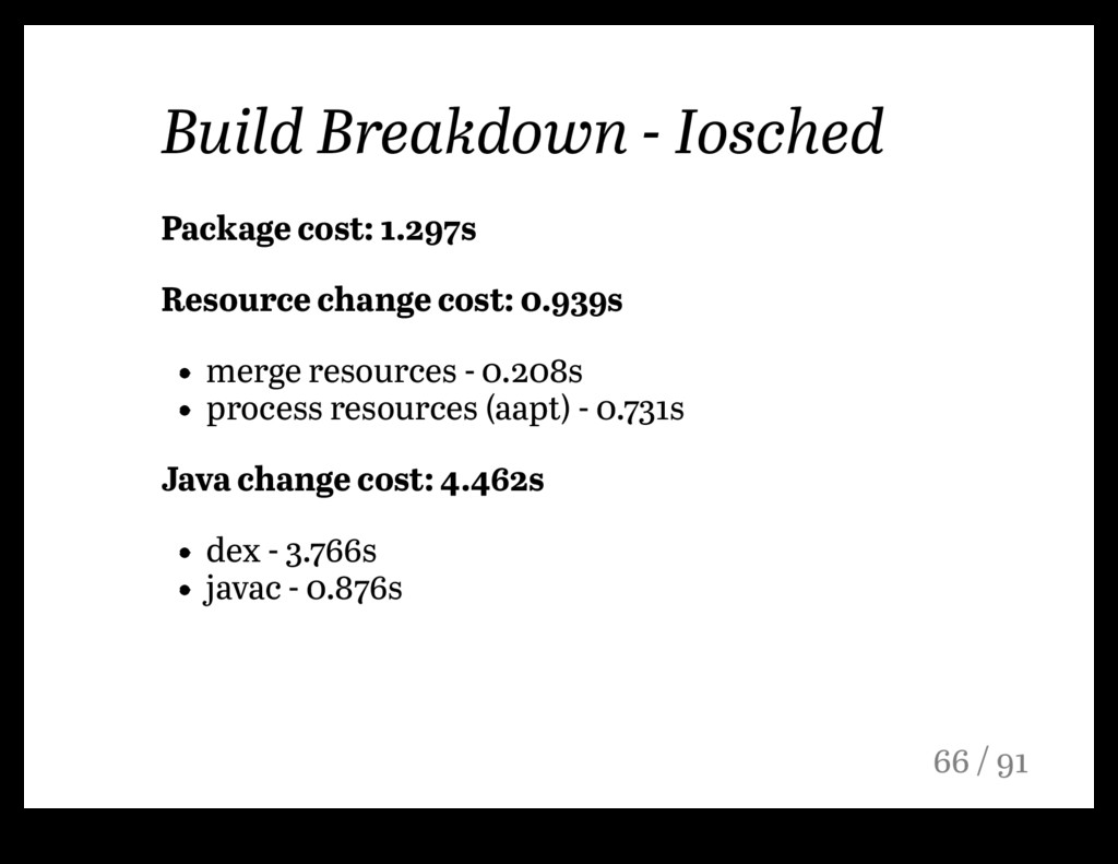 Build Breakdown - Iosched Package cost: 1.297s ...