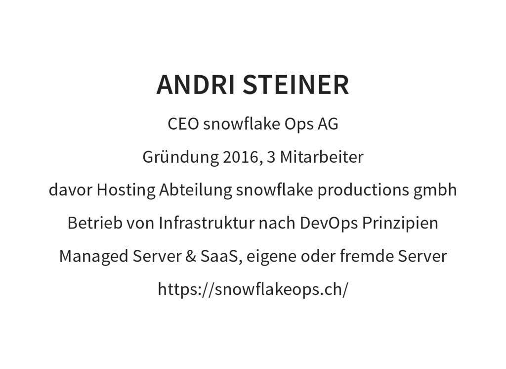 ANDRI STEINER CEO snowflake Ops AG Gründung 201...