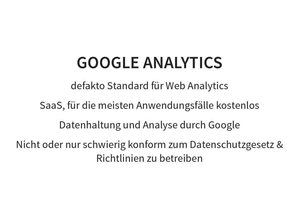 GOOGLE ANALYTICS defakto Standard für Web Analy...