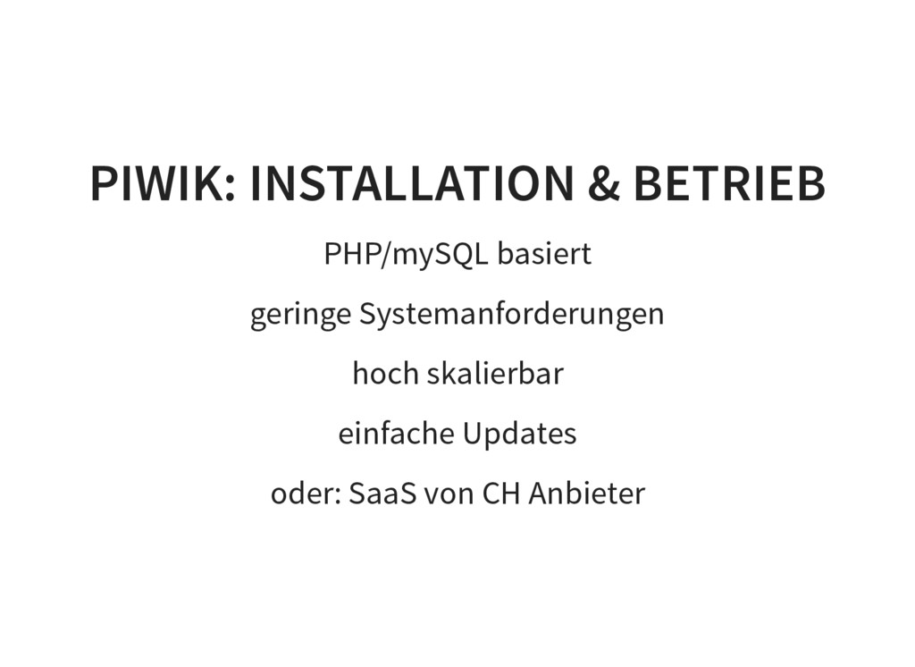 PIWIK: INSTALLATION & BETRIEB PHP/mySQL basiert...