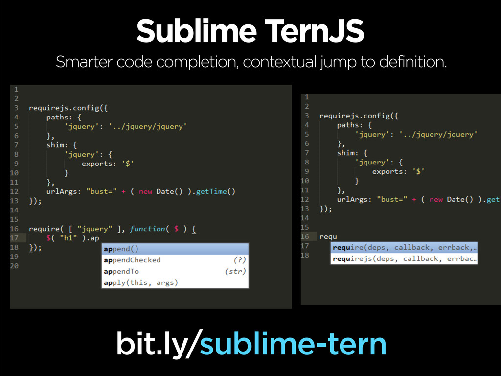 Sublime TernJS Smarter code completion, context...