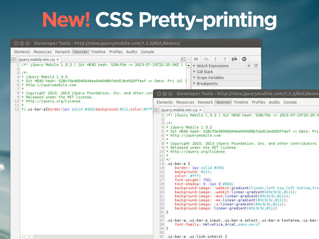 New! CSS Pretty-printing