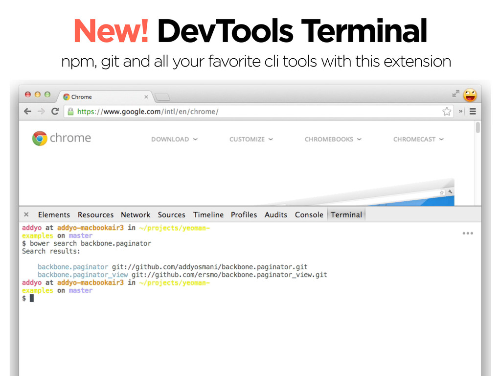 New! DevTools Terminal npm, git and all your fa...