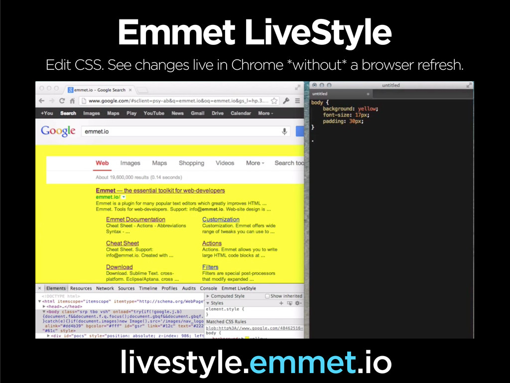 Emmet LiveStyle Edit CSS. See changes live in C...