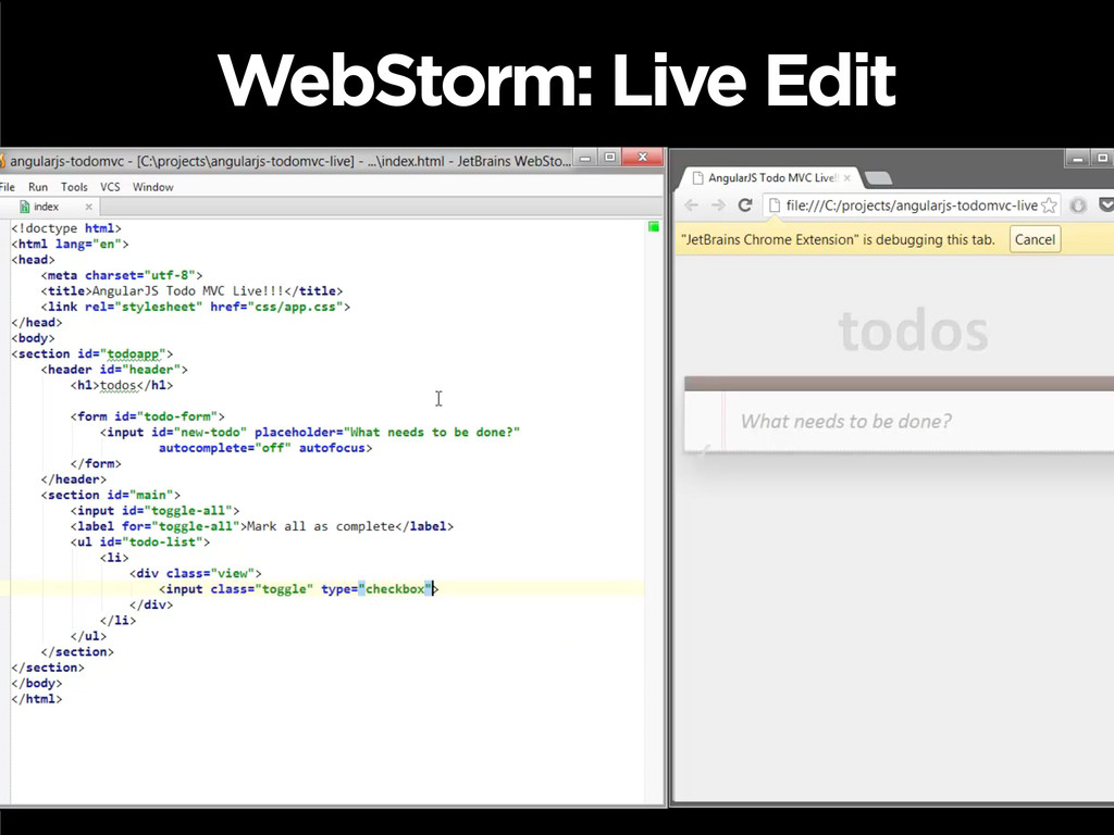 WebStorm: Live Edit