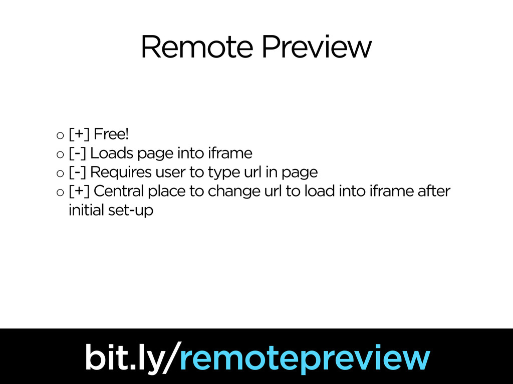 Remote Preview ◦ [+] Free! ◦ [-] Loads page int...