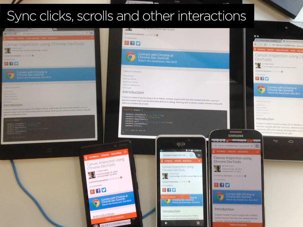 Sync clicks, scrolls and other interactions