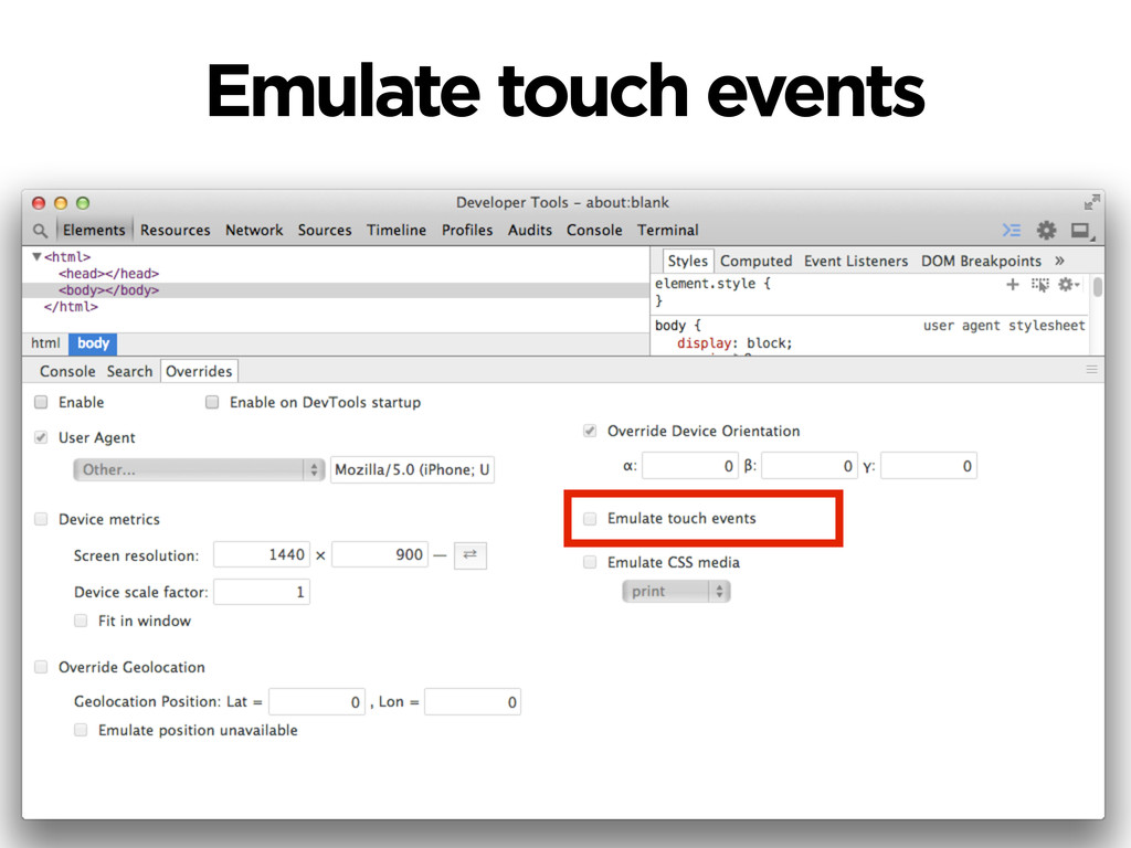 Emulate touch events