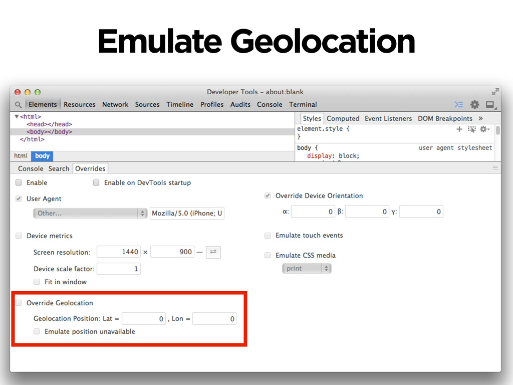 Emulate Geolocation