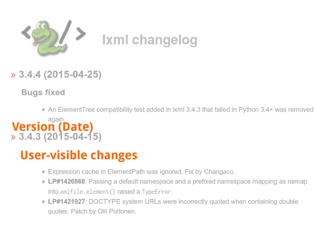 Version (Date) User-visible changes