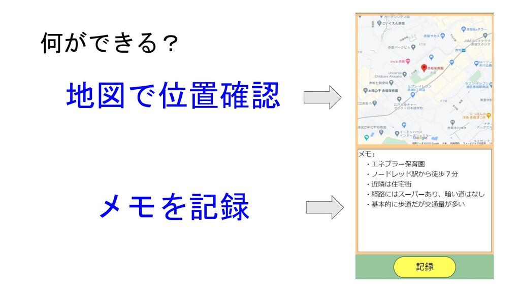 何ができる? 地図で位置確認 メモを記録