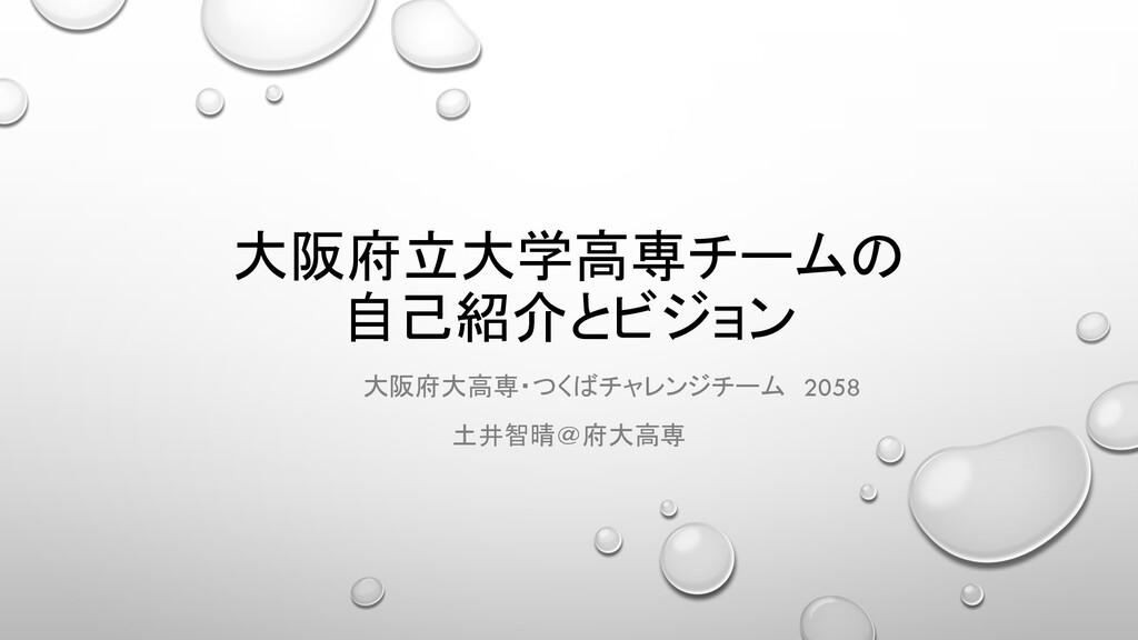 大阪府立大学高専チームの 自己紹介とビジョン 大阪府大高専・つくばチャレンジチーム 2058 ...