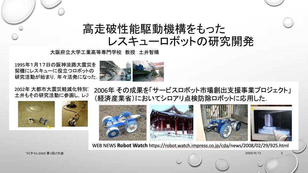 高走破性能駆動機構をもった レスキューロボットの研究開発 2020/9/12 つくチャレ202...